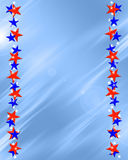 Patriotic Stars Frame Border. Patriotic red white and blue beveled stars frame on light blue background vector illustration