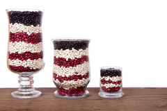 Patriotic still life arrangement. Beans in a jar arranged in red, white and blue Royalty Free Stock Image