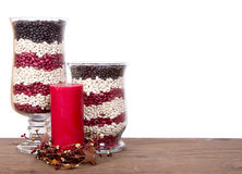 Patriotic still life arrangement. Beans in a jar arranged in red, white and blue Royalty Free Stock Photography