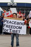 Patriotic Stundent. Chinese students in the protest of Dalai Lama giving lecture in University of Michigan Stock Image