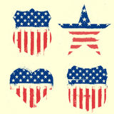 Patriotic symbols. Detailed illustration of different symbols with american flag and grunge elements royalty free illustration