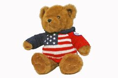 Patriotic Teddy Bear. Sitting up stock photos