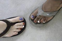 Free Patriotic Toenails On Feet In Sandals  Overhead View. Stock Image - 208173401