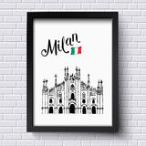 Patriotic or travel poster design for Milan Stock Photography