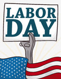 Patriotic U.S.A Flag and Sign to Celebrate Labor Day, Vector Illustration Stock Image