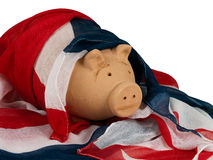 Patriotic UK pig in Union Jack flag Royalty Free Stock Image