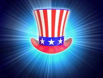 Patriotic Uncle Sam Hat 4th of July on blue light background. With copy space Royalty Free Stock Image