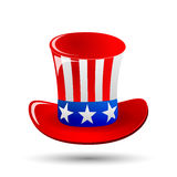 Patriotic Uncle Sam hat for 4th of July public holiday card greetings in vector format. Cartoon or doodle style. On white background. American stars and Royalty Free Stock Photo