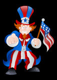 Patriotic Uncle Sam Vector. Conceptual Drawing of Happy Cartoon Patriotic Uncle Sam Character Pointing with American Flag on 4th of July royalty free illustration