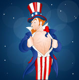 Patriotic Uncle Sam. Vector Illustration of Muscular Cartoon Adult Uncle Sam Character Showing His Chest royalty free illustration