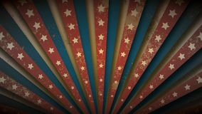 Patriotic US flag, wild west or circus retro grunge vintage sunburst or starburst loopable rotating animation in beige, blue and r