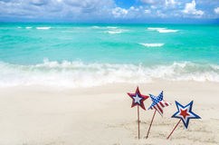 Patriotic USA background on the sandy beach Royalty Free Stock Images