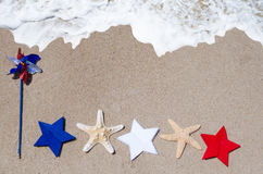 Patriotic USA background with starfishes Stock Photo
