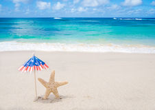 Patriotic USA background with starfishes Stock Image