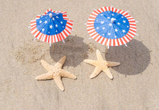 Patriotic USA background with starfishes Royalty Free Stock Photos