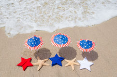 Patriotic USA background with starfishes Stock Images