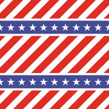 Patriotic USA seamless pattern. American flag symbols and colors. Background for 4th july USA independence day. Stars on blue and diagonal red and white stock illustration