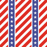 Patriotic USA seamless pattern. American flag symbols and colors. Background for 4th july USA independence day. Stars and diagonal red and white stripes vector illustration