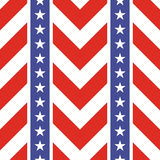Patriotic USA seamless pattern. American flag symbols and colors. Background for 4th july USA independence day. Stars and zigzag red and white stripes stock illustration