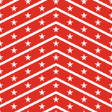 Patriotic USA seamless pattern. American flag symbols and colors. Background for 4th july USA independence day. White zigzag stripes and stars on red backdrop stock illustration