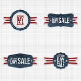 Patriotic Veterans Day Emblems with Ribbons. On textile Background. Vector Illustration Royalty Free Stock Photography