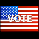 Patriotic Voting Poster. United States Vote symbol on a black background Royalty Free Stock Image