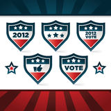 Patriotic Voting Shields. Set of patriotic voting shields vector illustration