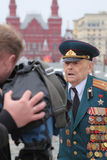 Patriotic War veteran being interviewed Royalty Free Stock Photo