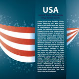 Patriotic wave background with stripes, stars. And Text place, Zip includes 300 dpi JPG, Illustrator CS, EPS10. Vector with transparency Royalty Free Stock Images