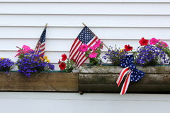 Patriotic Window Boxes Royalty Free Stock Images