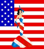 Patriotic woman in a beautiful dress Royalty Free Stock Images