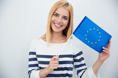 Patriotic woman holding european flag Stock Photography