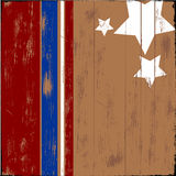 Patriotic Wood. Old wooden sign with patriotic stars and stripes Stock Photos