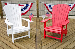 Patriotic wooden deck Stock Photos