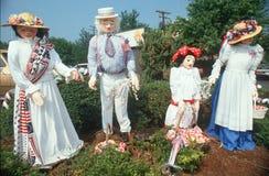 Patriotic yard dummy family, Fairfax County, VA Royalty Free Stock Photos
