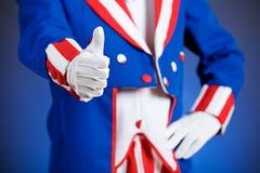 Patriotisch: Onkel Sam Gives Thumbs Up Stockfotografie