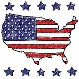 Patriotische Karte der Vereinigten Staaten Stockfotos