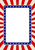 Patriotische Rahmengrenze mit Sternen und roten Strahlen Lizenzfreie Stockfotos