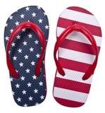 Patriotische rote weiße und blaue Flipflop-Sandelholze lizenzfreie stockfotos