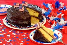Patriotische Schokolade gefrorener Kuchen Stockbild