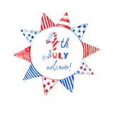 4. patriotischen Rotes Julis, des Weiß und der blauer Sumpf-Schwertlilie-Girlande Dekorative Feiertagsgirlande für Entwurf, lokal lizenzfreie abbildung