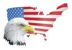 Patriotischer amerikanischer Adler und Markierungsfahne Lizenzfreie Stockfotos