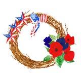 Patriotischer Dekor Denkmal oder Erinnerungs-Tageskranz mit Mohnblumen und gestreiften Sternen Rote, blaue und wei?e Farben von U lizenzfreie abbildung