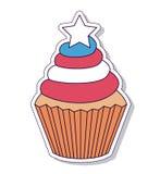 Patriotischer kleiner Kuchen lokalisiertes Ikonendesign Stockbild