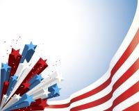 Patriotischer Stern gesprengt mit gestreifter Markierungsfahne stock abbildung