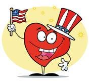 Patriotisches amerikanisches Inneres, das eine Markierungsfahne wellenartig bewegt Stockbild