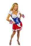 Patriotisches amerikanisches Mädchen mit zwei Markierungsfahnen Lizenzfreies Stockbild