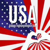 Patriotisches Fahnenplakat simsen glücklichen Unabhängigkeitstag USA-Hintergrund der amerikanischen Flagge mit den Händen und kre lizenzfreie abbildung
