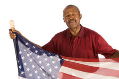 patriotisk afrikansk amerikanman Royaltyfri Fotografi