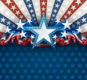 Patriotisk amerikansk bakgrund med stjärnan Royaltyfria Bilder
